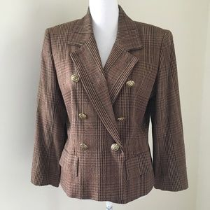 Vintage Doncaster Brown Silk Plaid Blazer 8